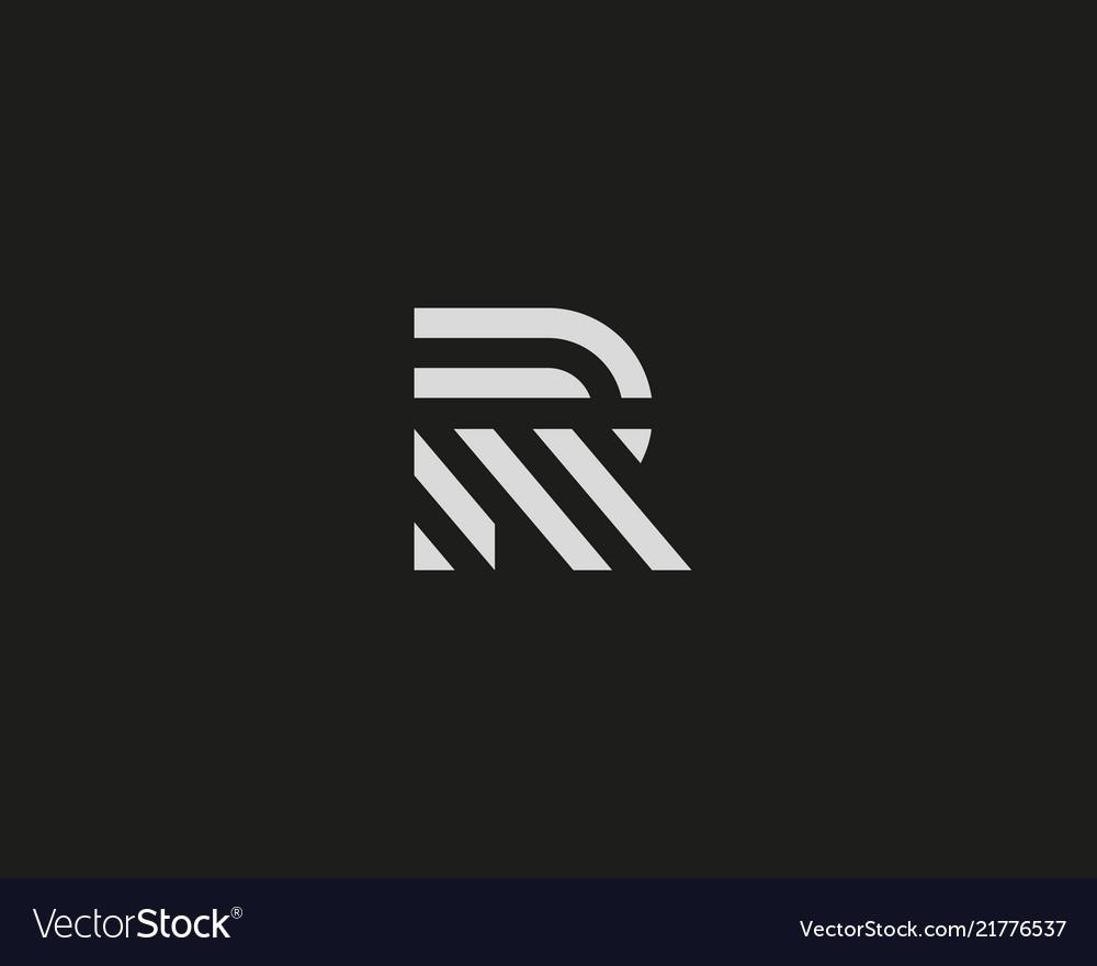 letter r line logo design creative royalty free vector image. Black Bedroom Furniture Sets. Home Design Ideas
