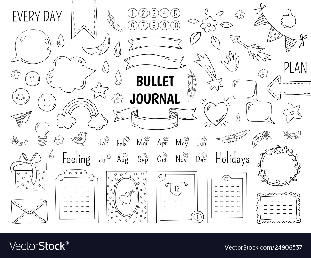Notebook doodle bullet hand drawn diary frame