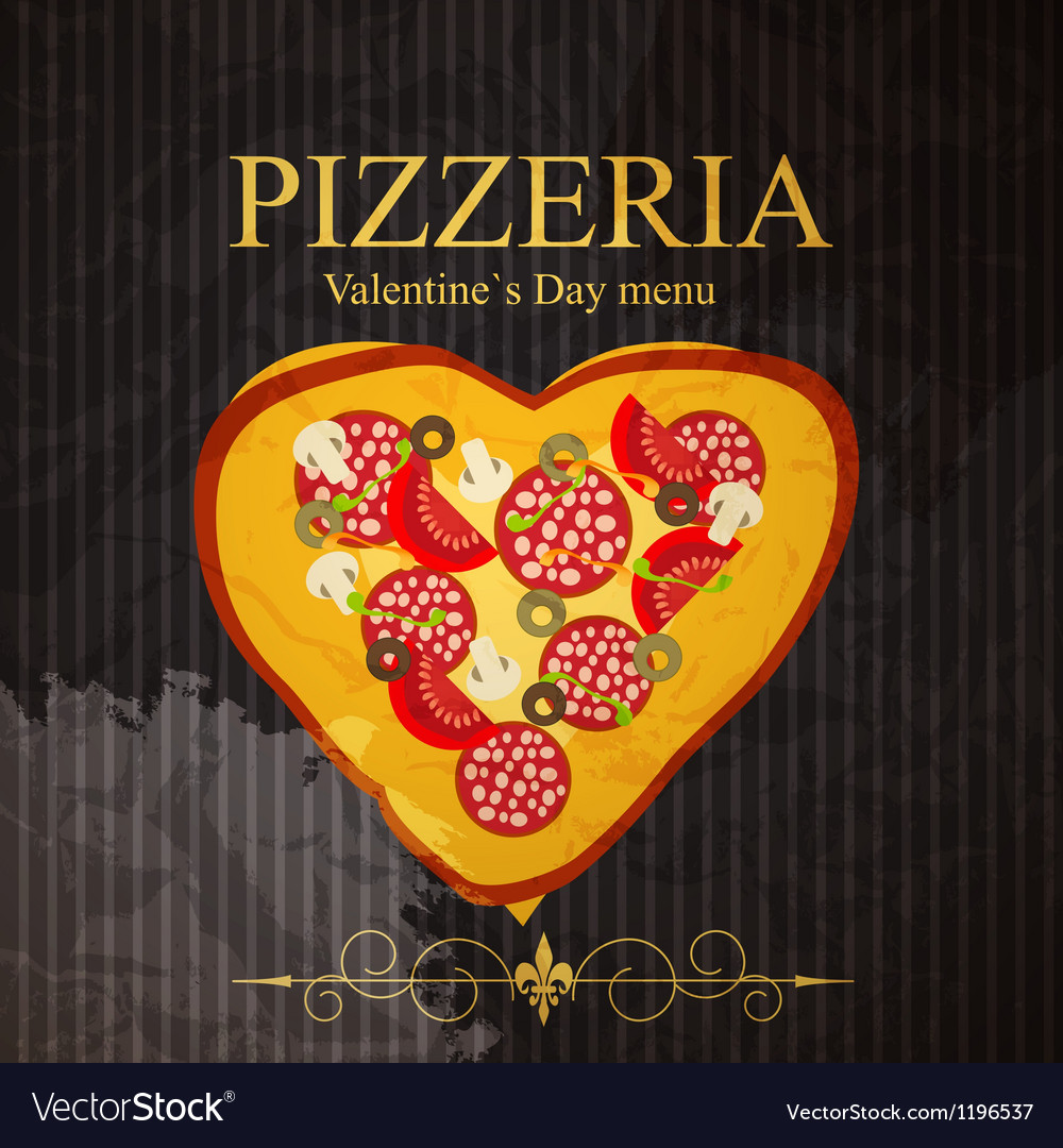 Pizza Menu Template On Valentines Day Royalty Free Vector