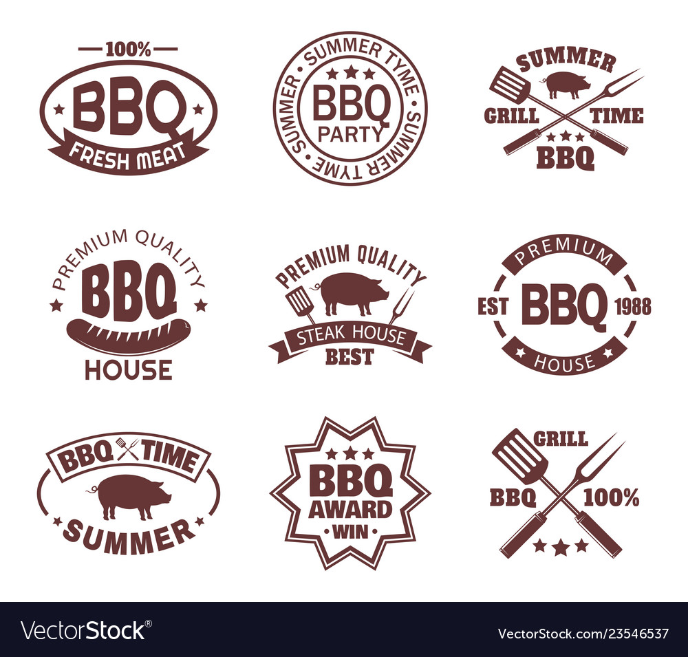 Set isolated steakhouse signs or meat shop logo