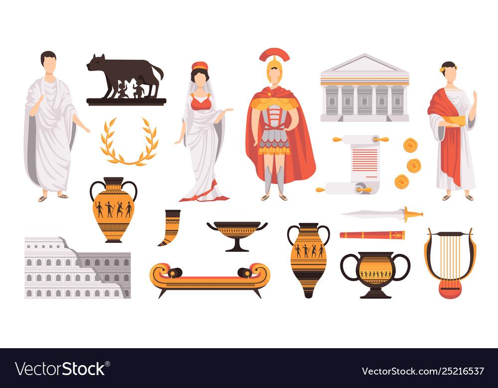 Traditional cultural symbols ancient rome set