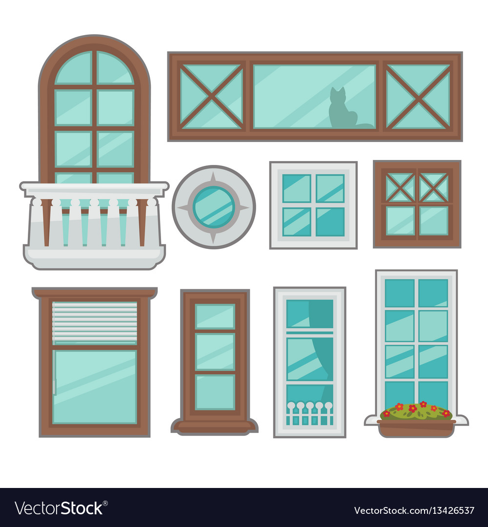 house windows types jalousie windows windows collection of various types vector image royalty free vector