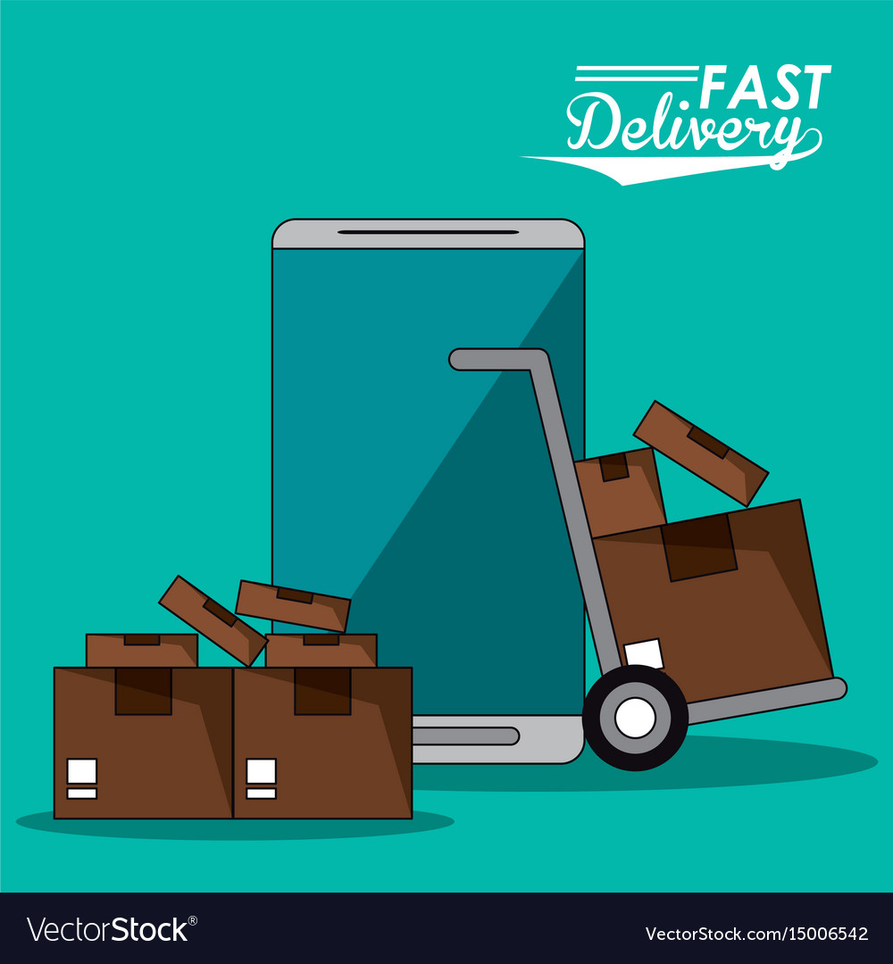 Background smartphone and hand truck packages fast vector image