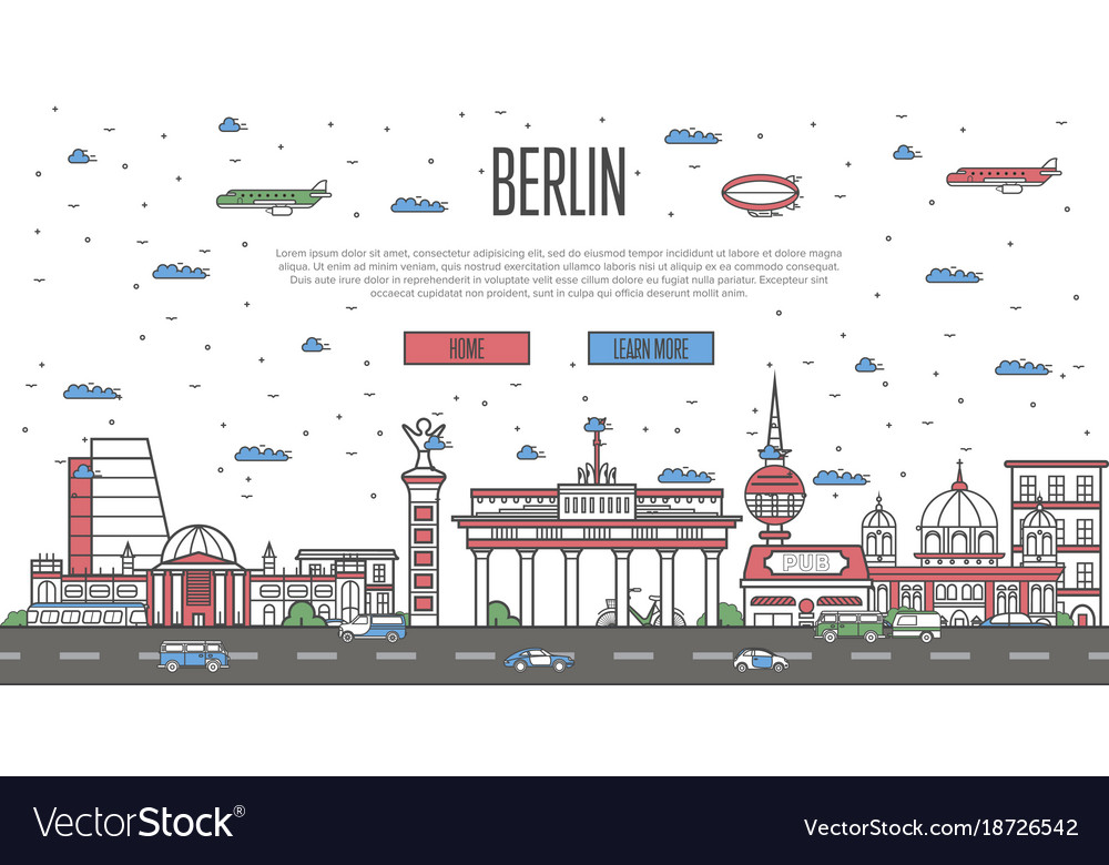 Berlin skyline with national famous landmarks