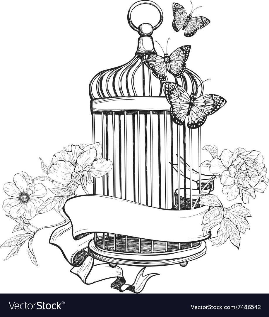 Birdcage wih ribbon flowers and butterfly