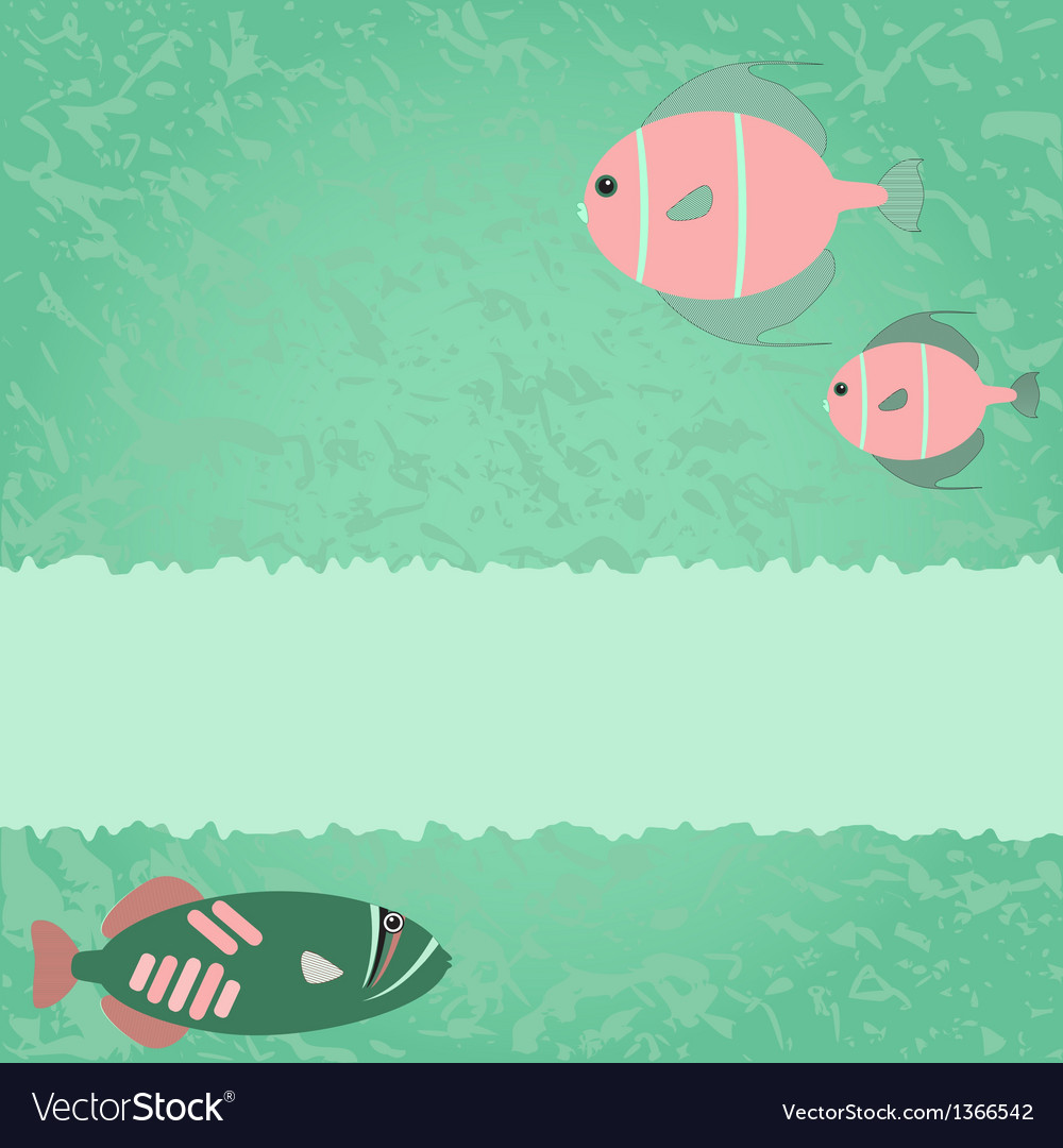 blue green card with fish royalty free vector image