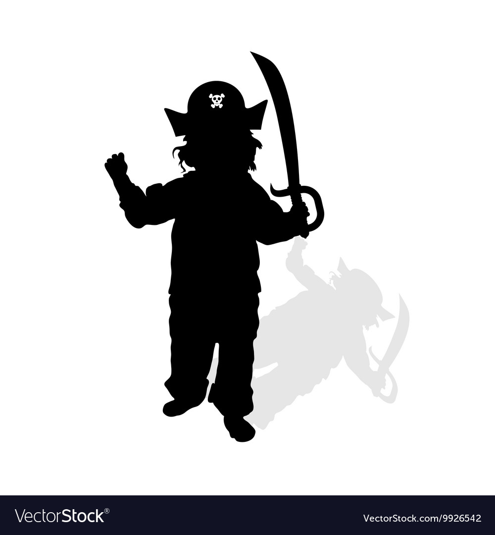 Child with pirate hat and sword silhouette vector image