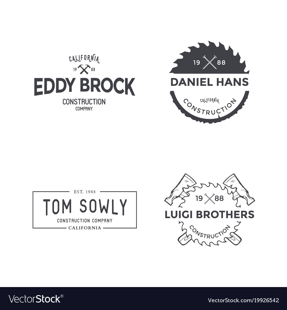 Construction company logo or label template