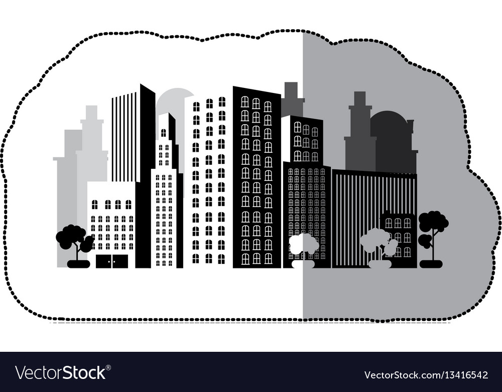 Contour city with buils icon vector image