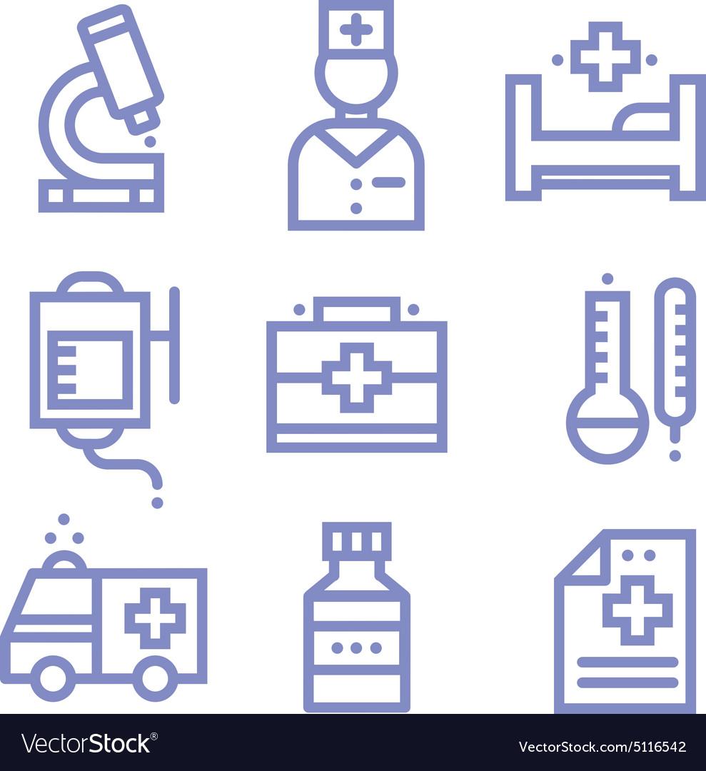Contour simple medical icons set