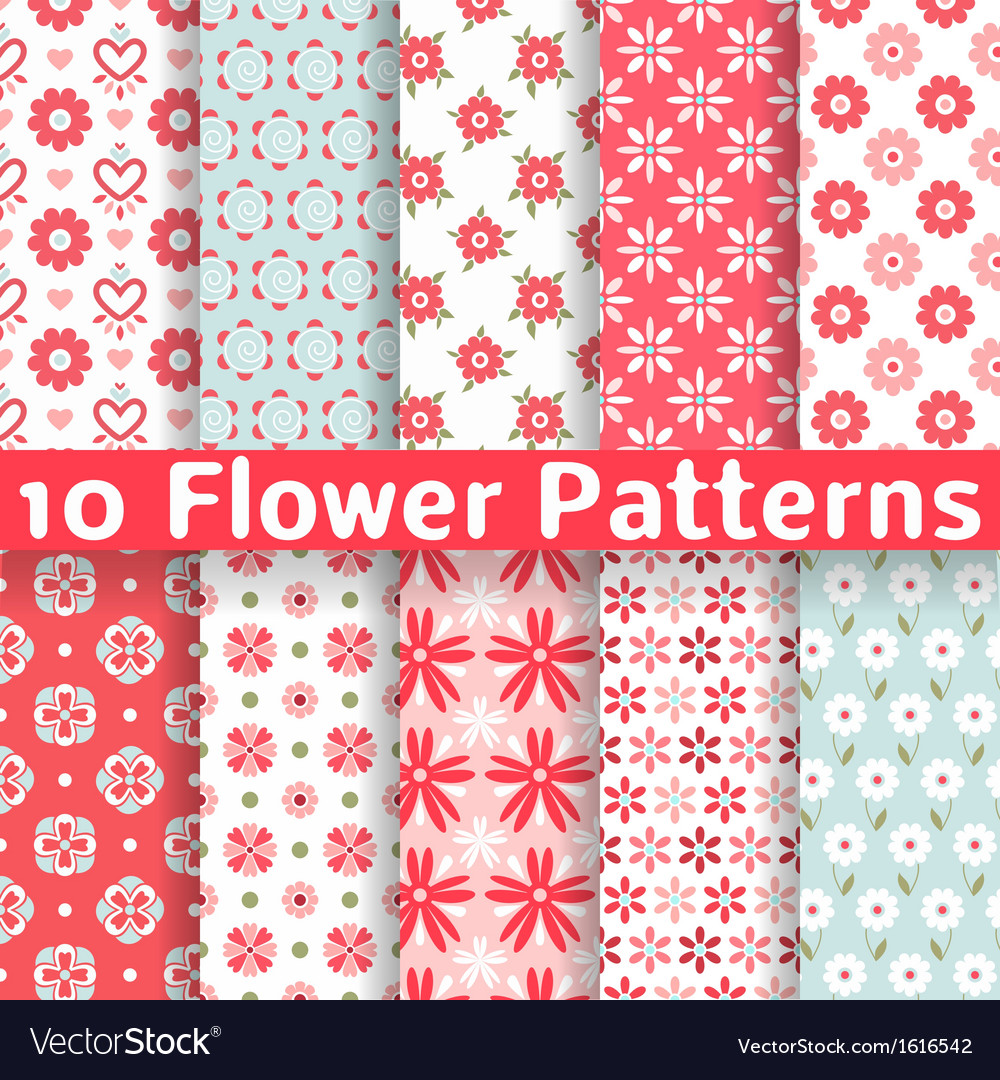 Different flower seamless patterns tiling vector image