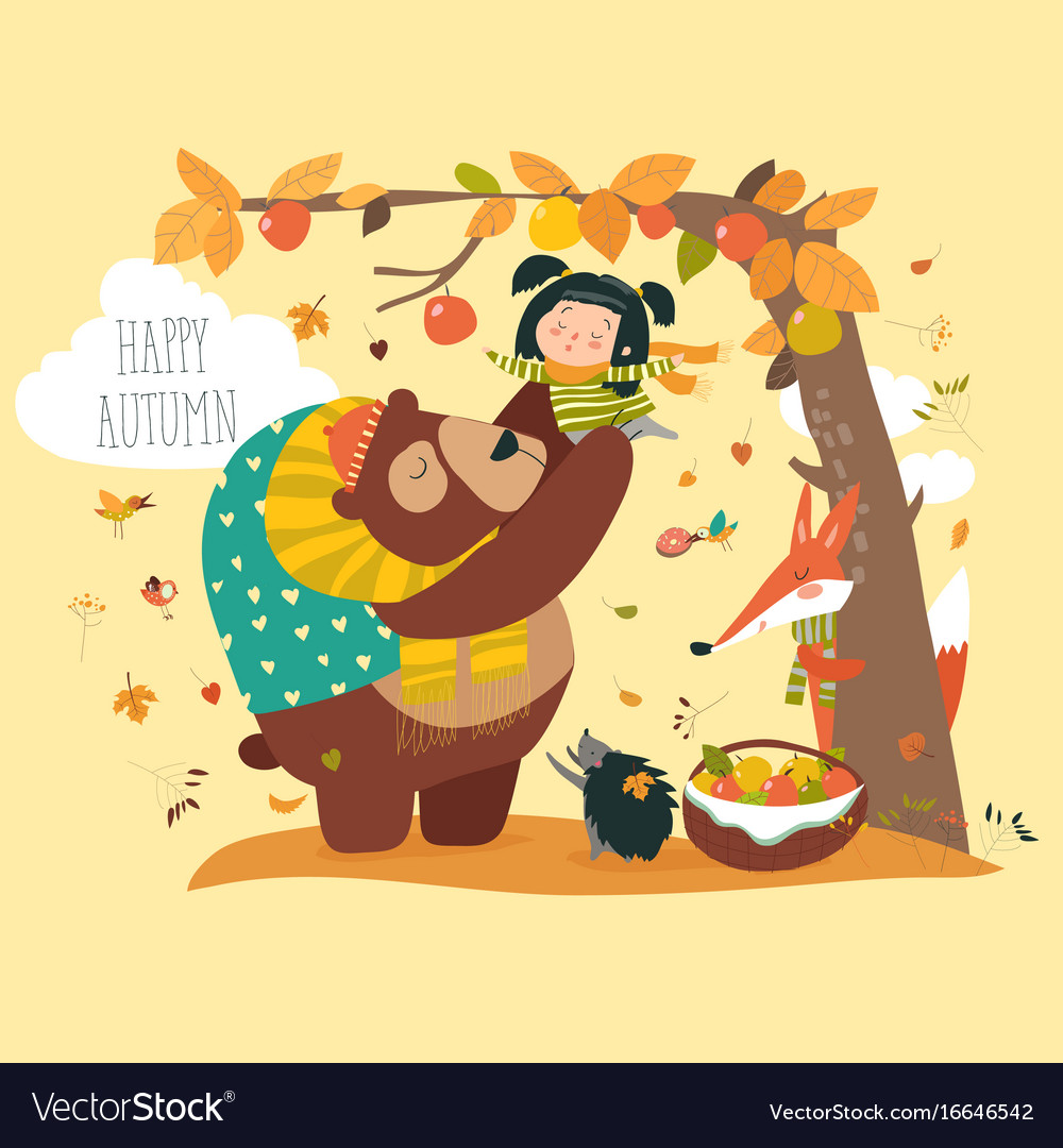 Funny bear with cute girl harvesting apples vector image