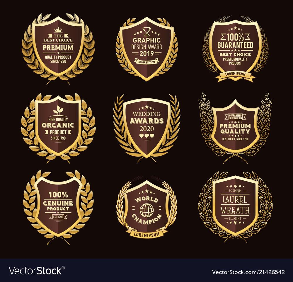 Golden laurel wreaths premium quality labels