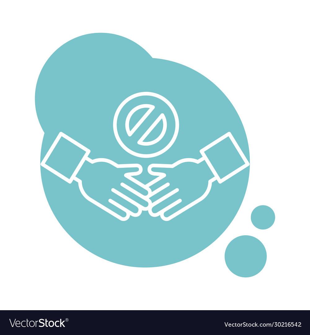 Handshake denied signal block style icon