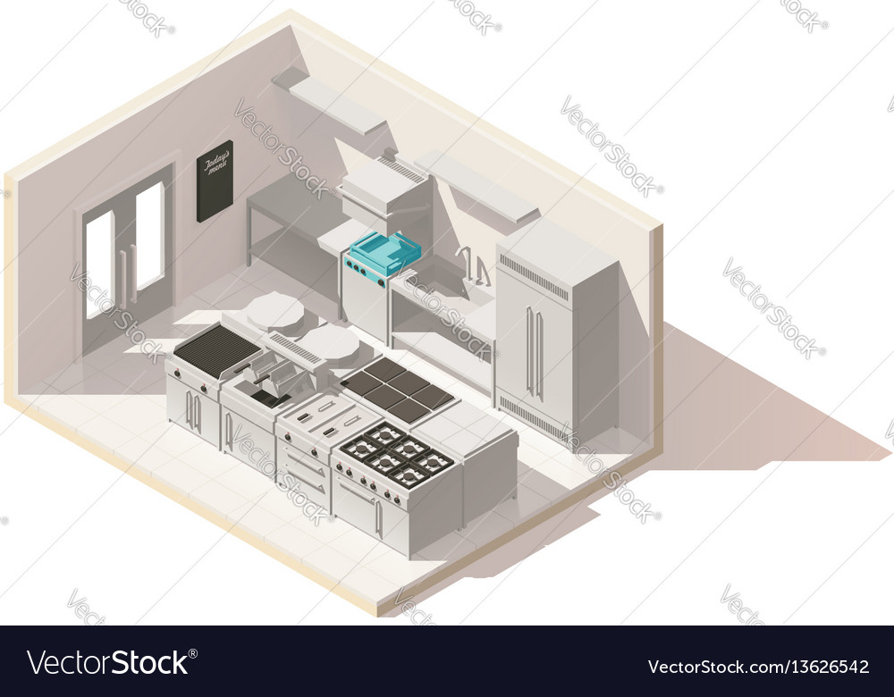 Isometric low poly professional kitchen