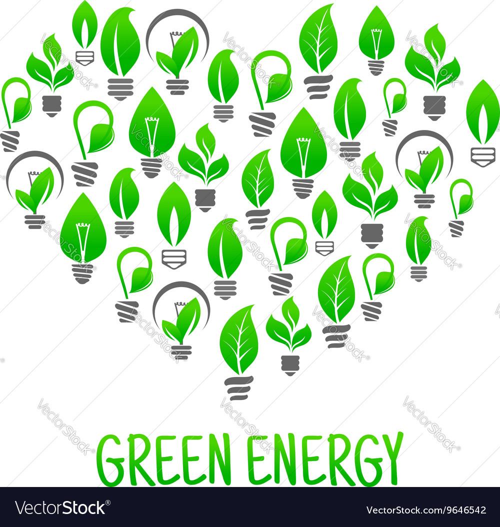 Saving energy icon with heart made of light bulbs