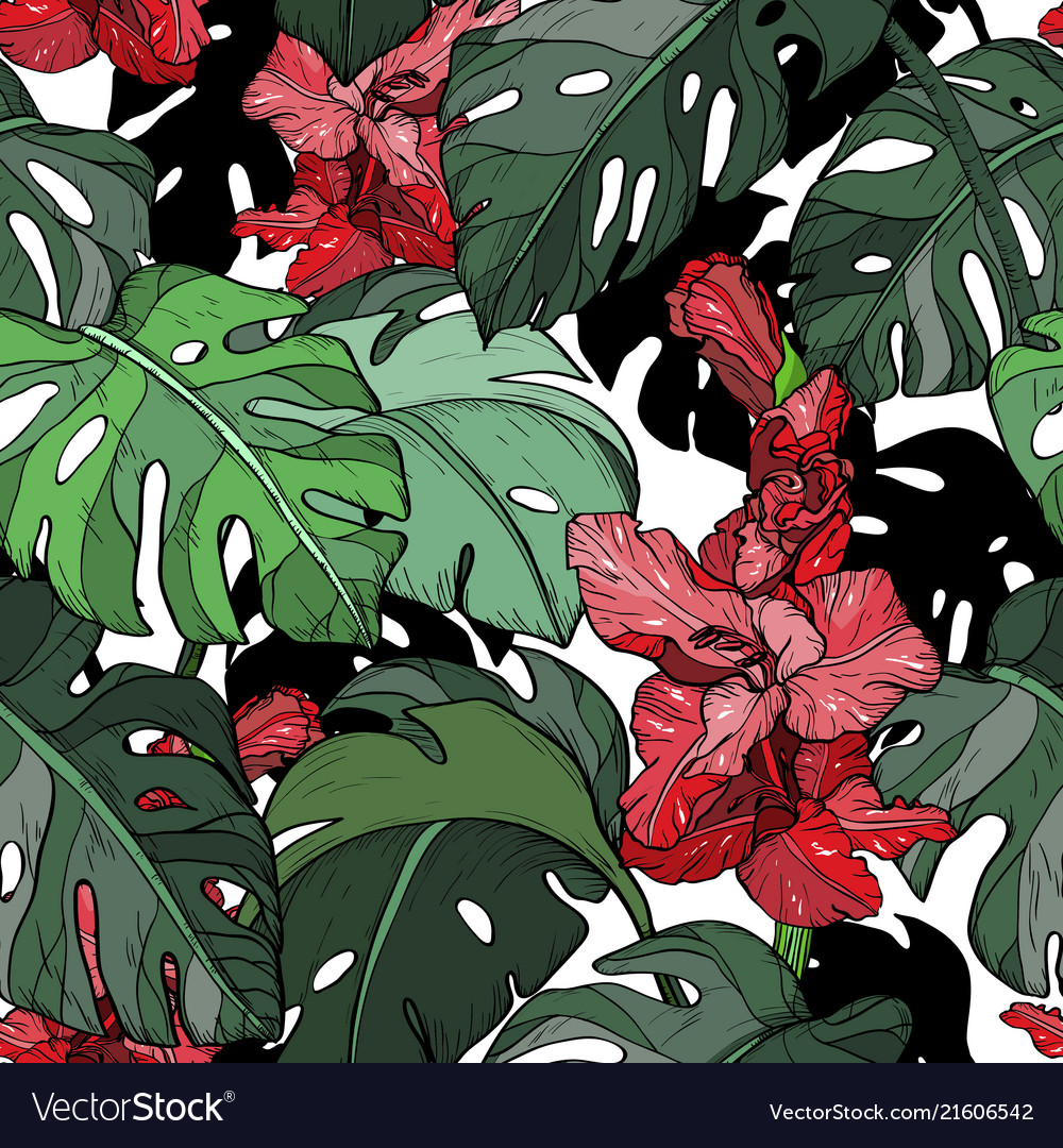 Seamless pattern with tropical red flowers