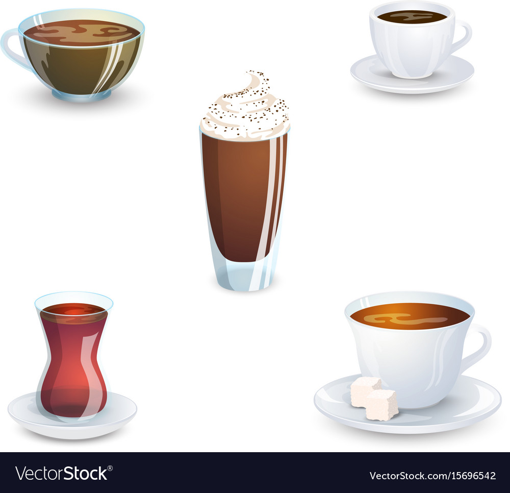 Set of delicious hot drinks coffee tea a