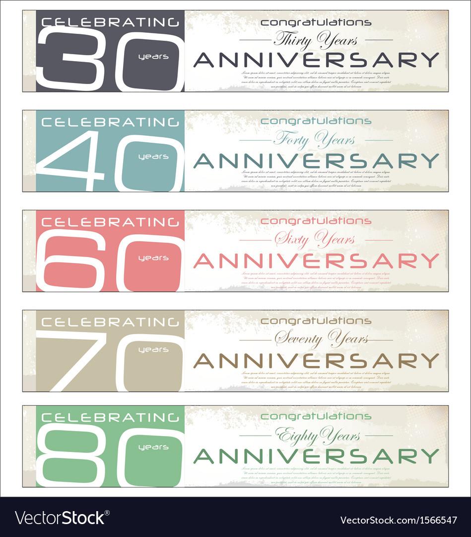 Anniversary retro banner set