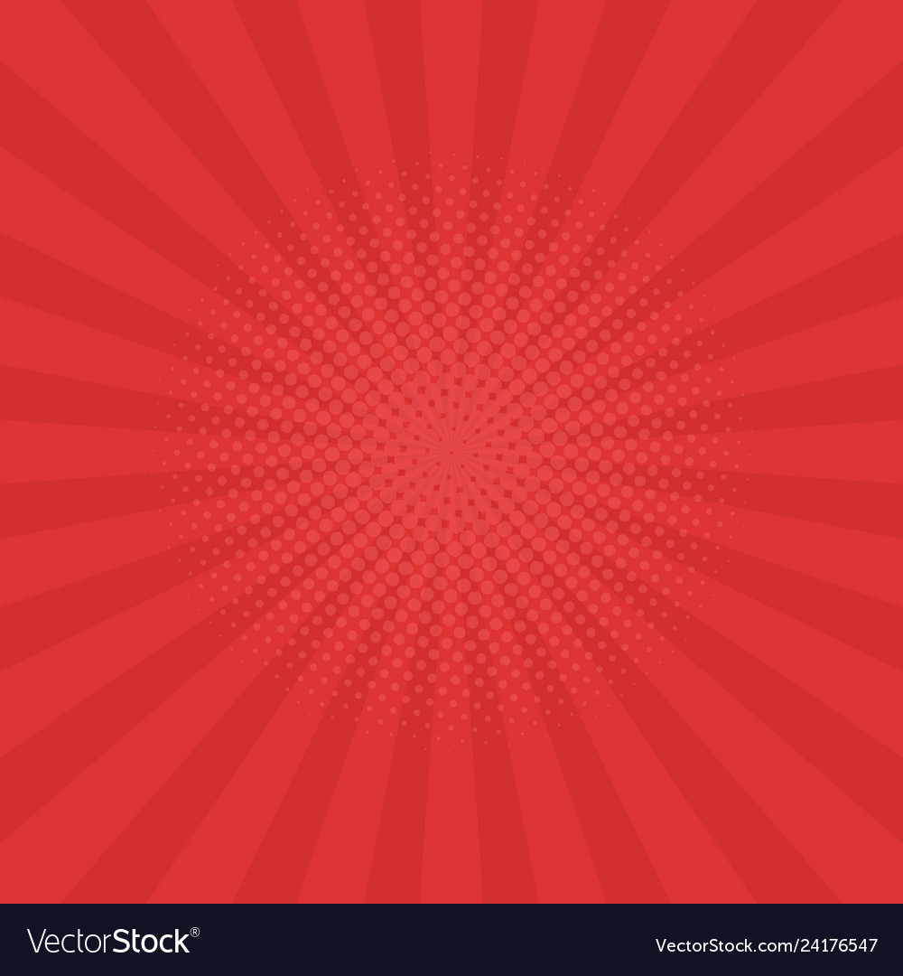 Bright red rays background comics pop art style