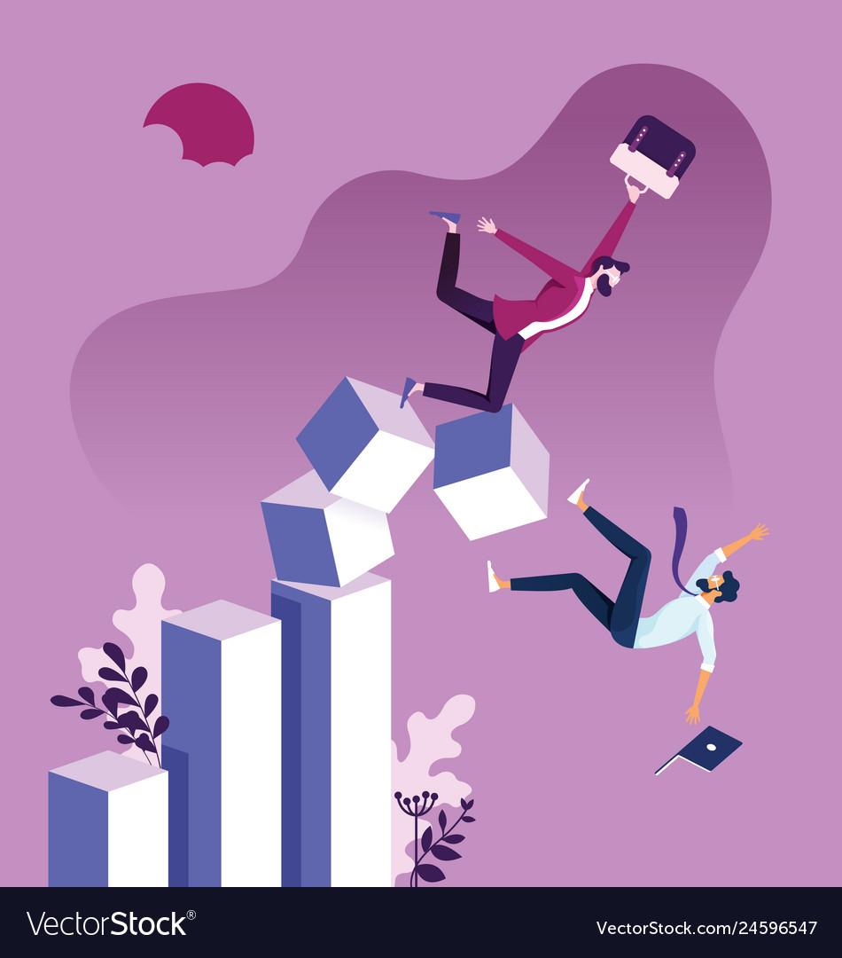 Businessman falling down graph chart