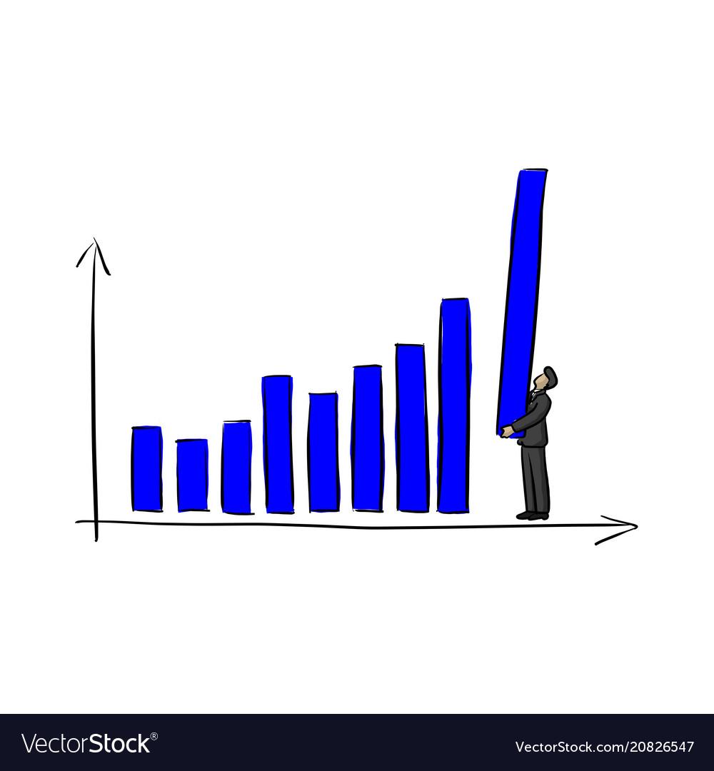 Businessman holding blue bar chart