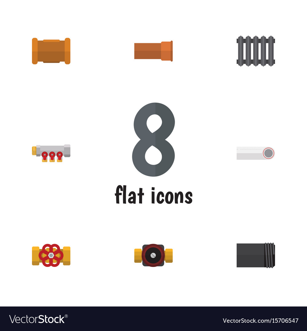 Flat icon sanitary set of pipework tube cast and vector image