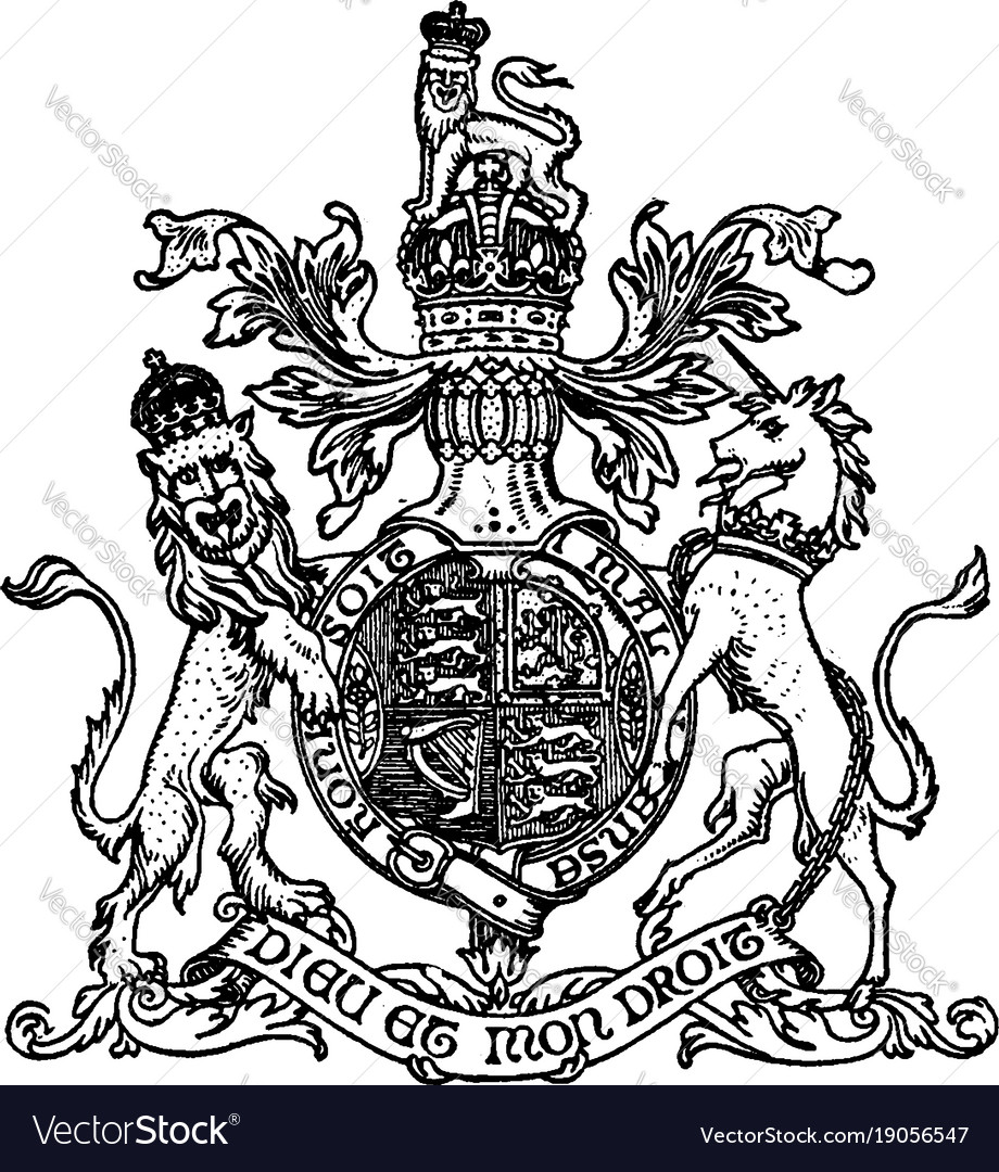 Lion crest have lion and unicorn vintage engraving