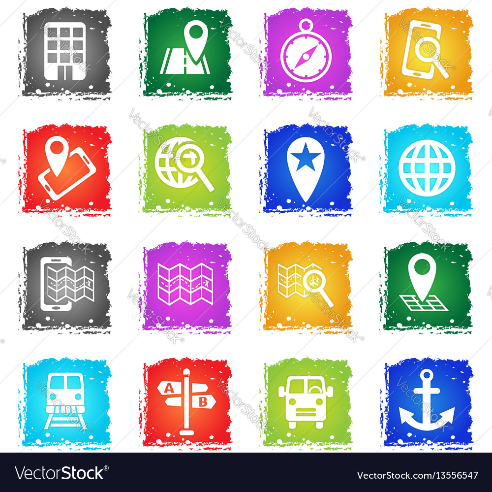 Navigation transport map icon set