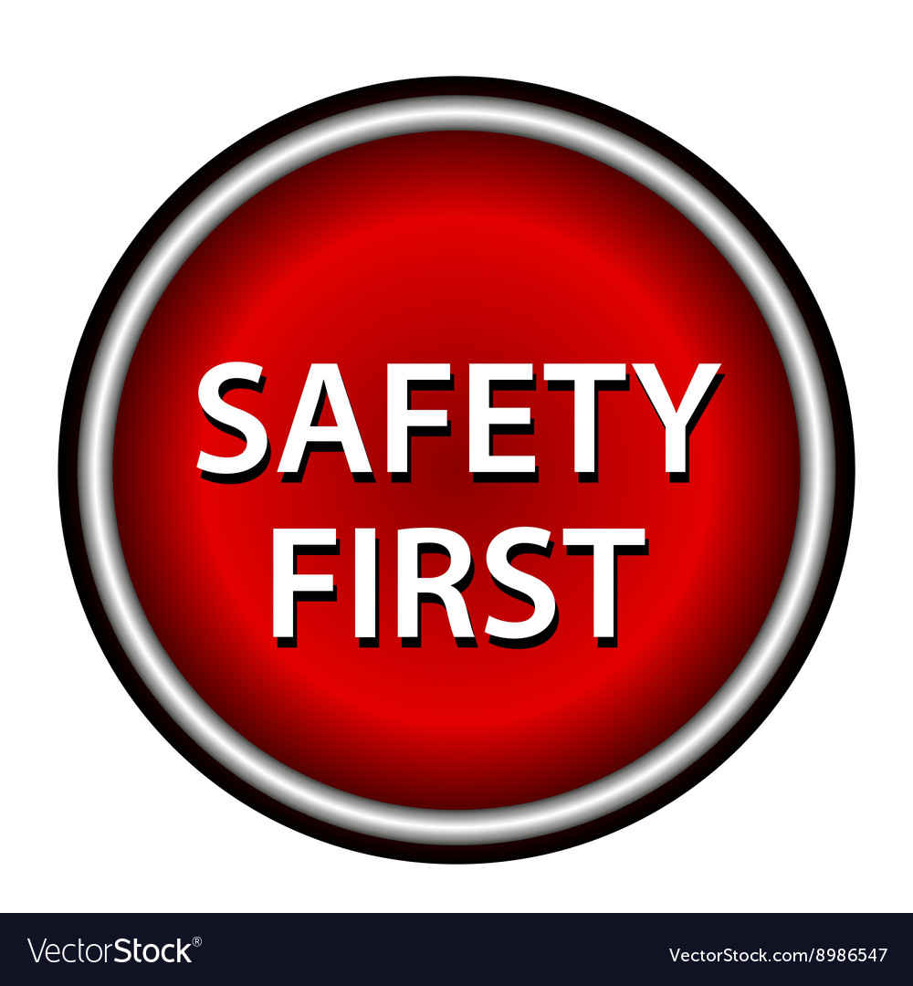 Red round safety first icon with white design