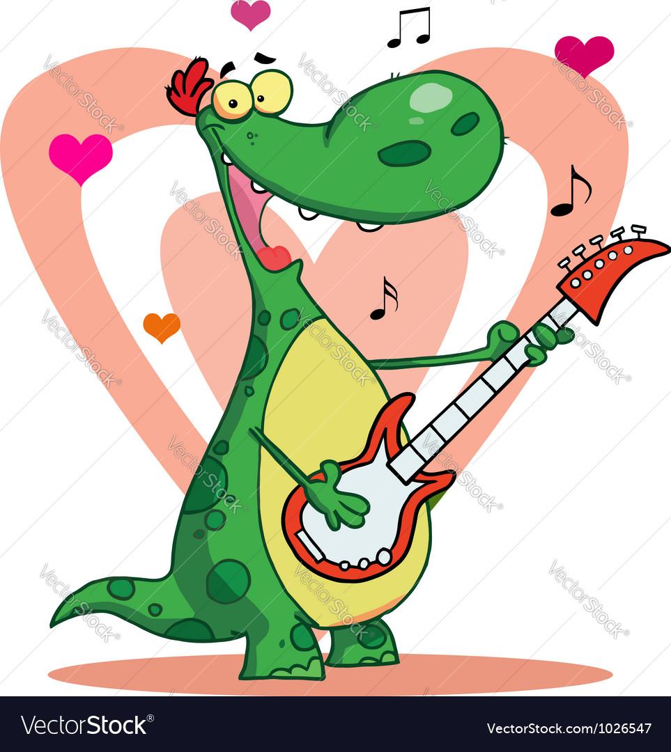 Romantic Guitarist Dinosaur Singing vector image