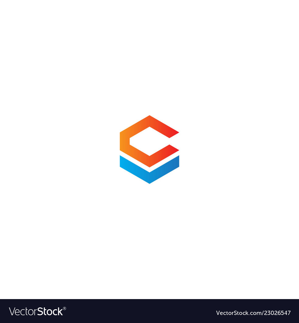 Shape letter c polygon colored logo