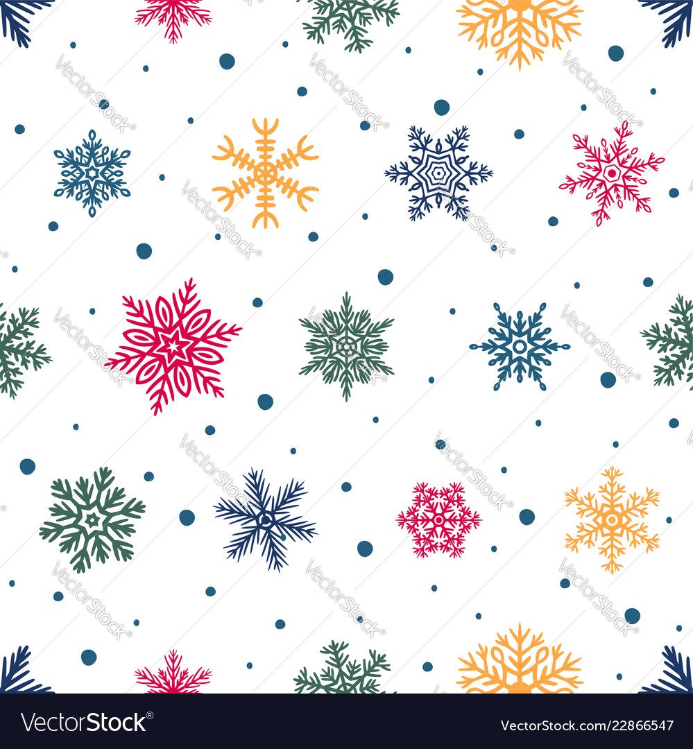 Simple seamless pattern with hand drawn snowflakes