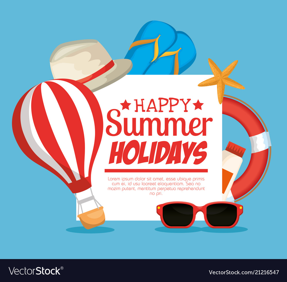Summer holidays set icons