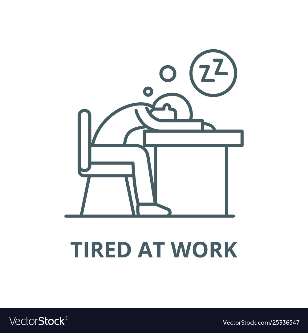 Tired at work line icon linear concept