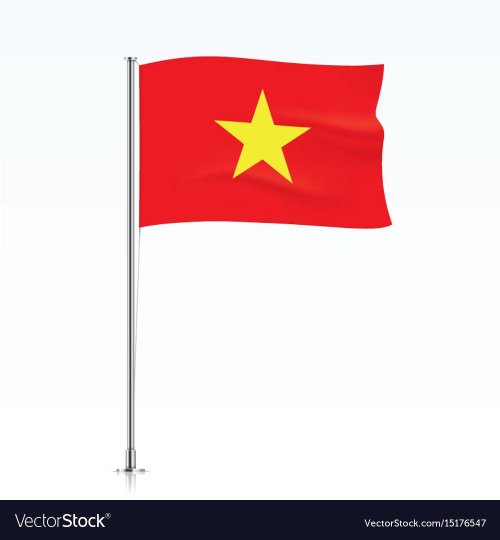 Vietnam Flag Waving On A Metallic Pole Royalty Free Vector