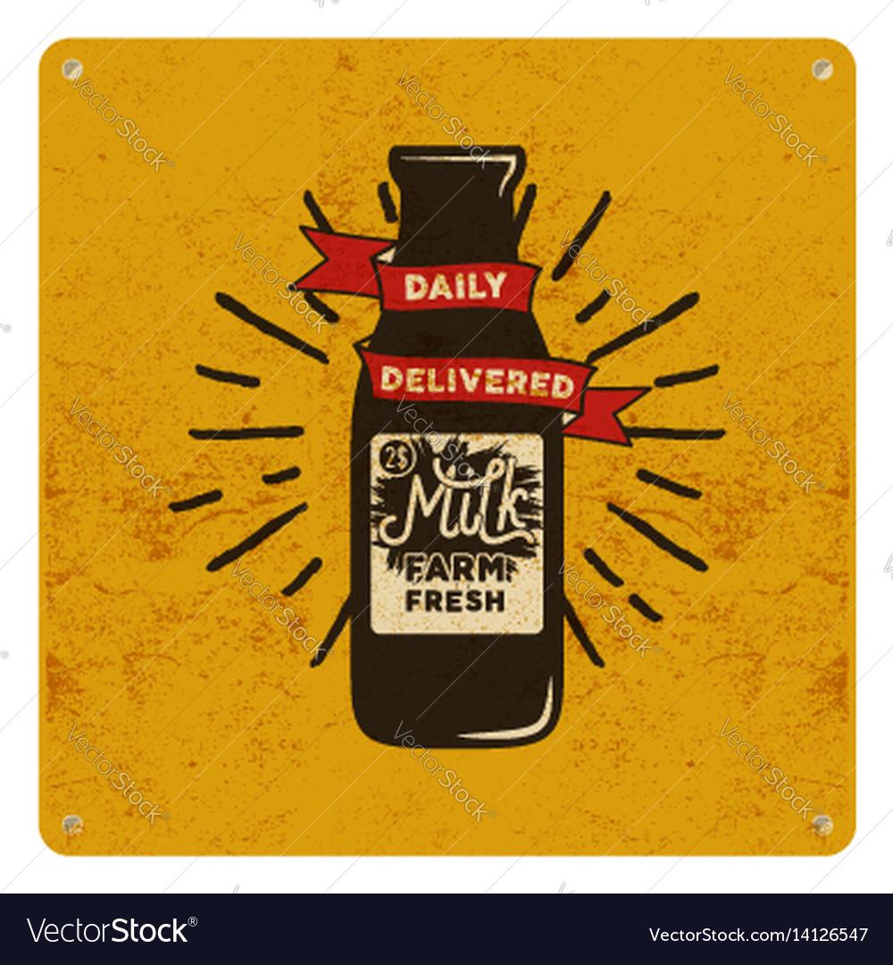 Vintage organic raw milk sign on yellow card