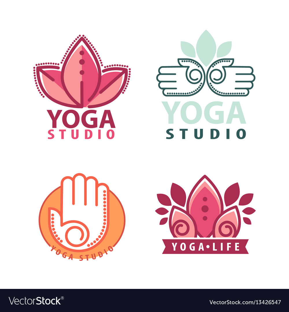 Yoga monograms and logos set