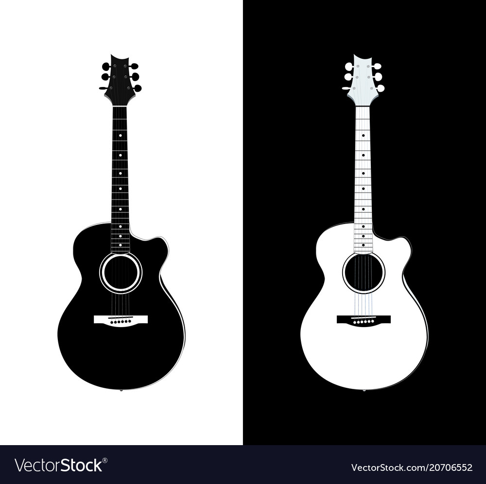 Acoustic Guitar In Black And White Royalty Free Vector Image