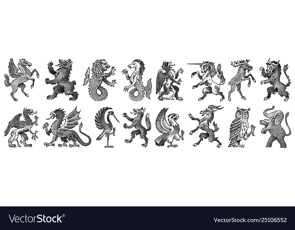 Animals for heraldry in vintage style engraved