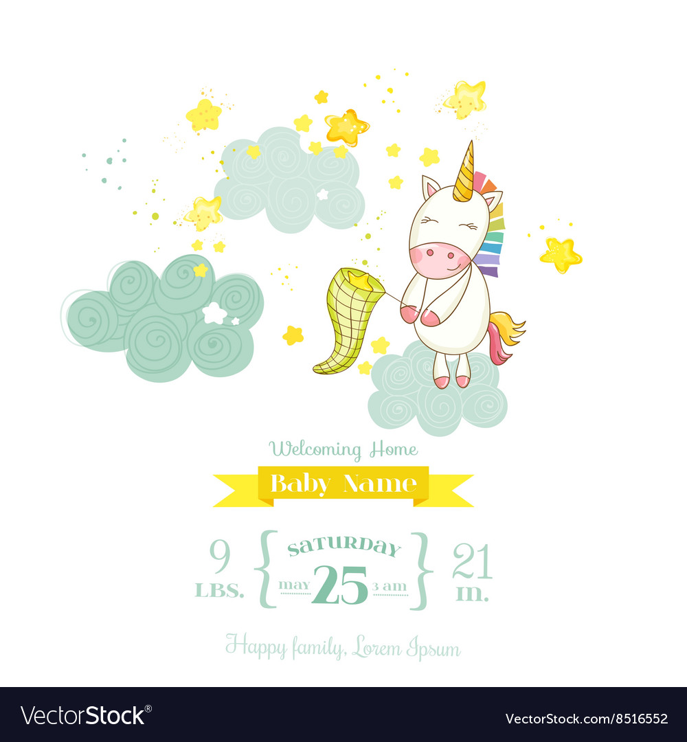 baby shower or arrival card baby unicorn girl vector image