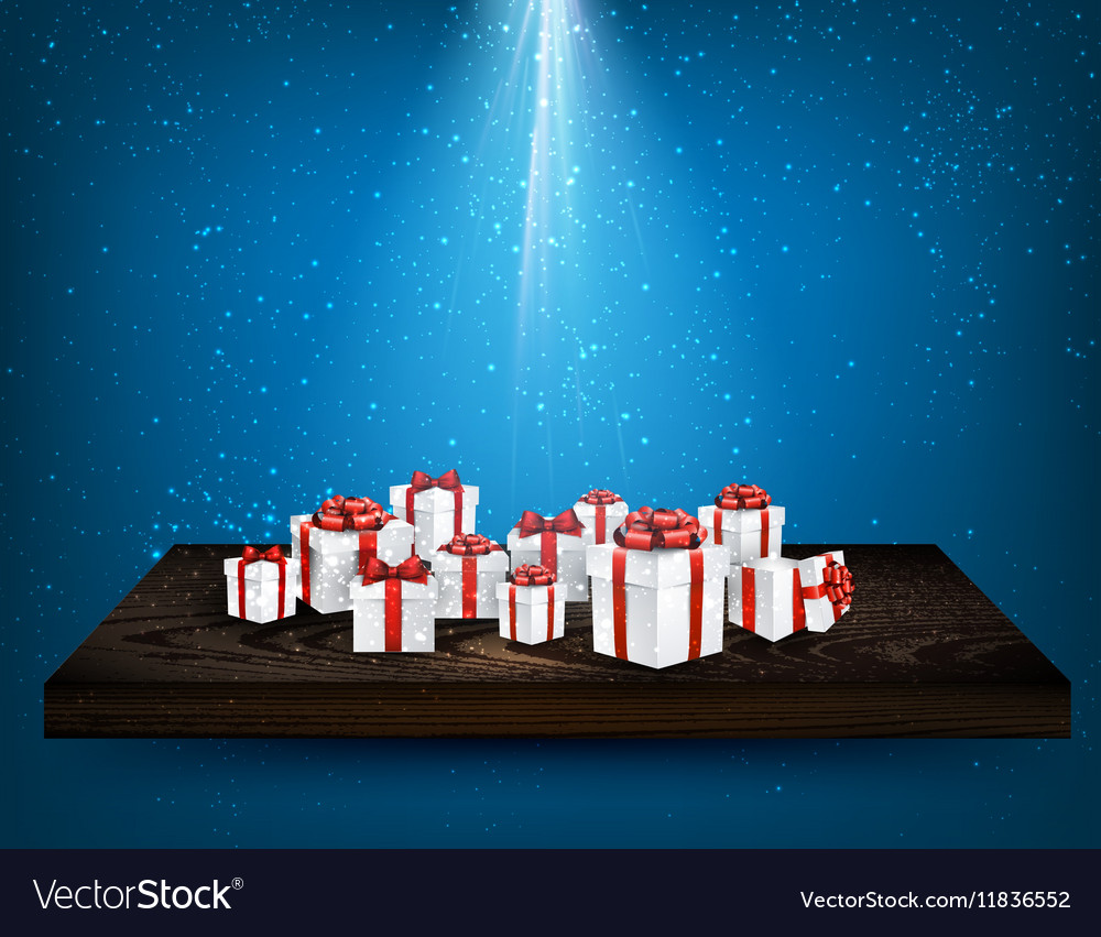 Blue background with gift boxes vector image