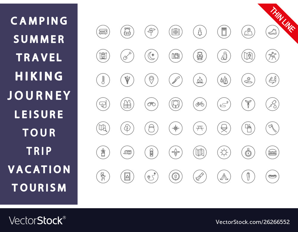 Camping set icon editable thin line