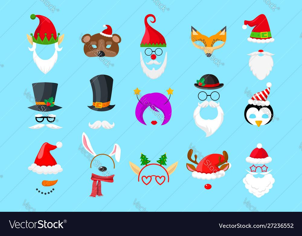 Christmas masks on blue background