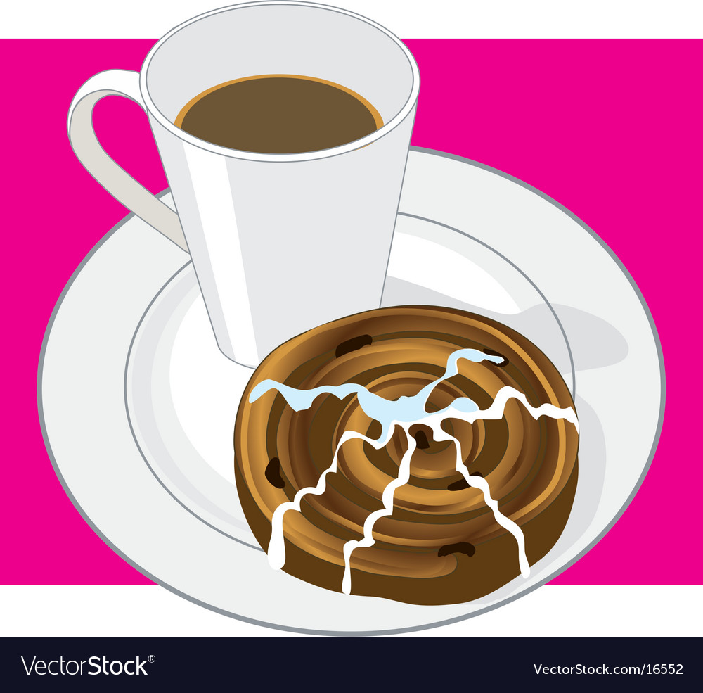 Coffee and cinnamon bun vector image