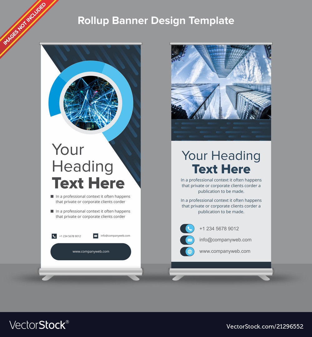 Cutting edge rollup banner in denim and sapphire