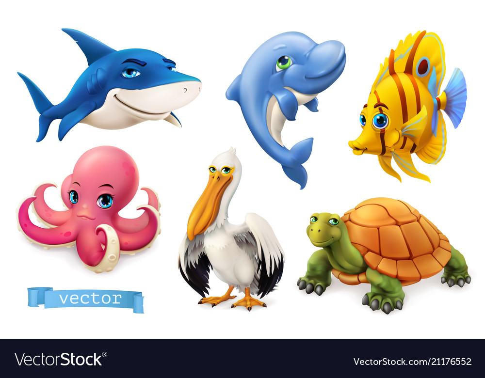 Funny sea animals and fishes 3d icon set