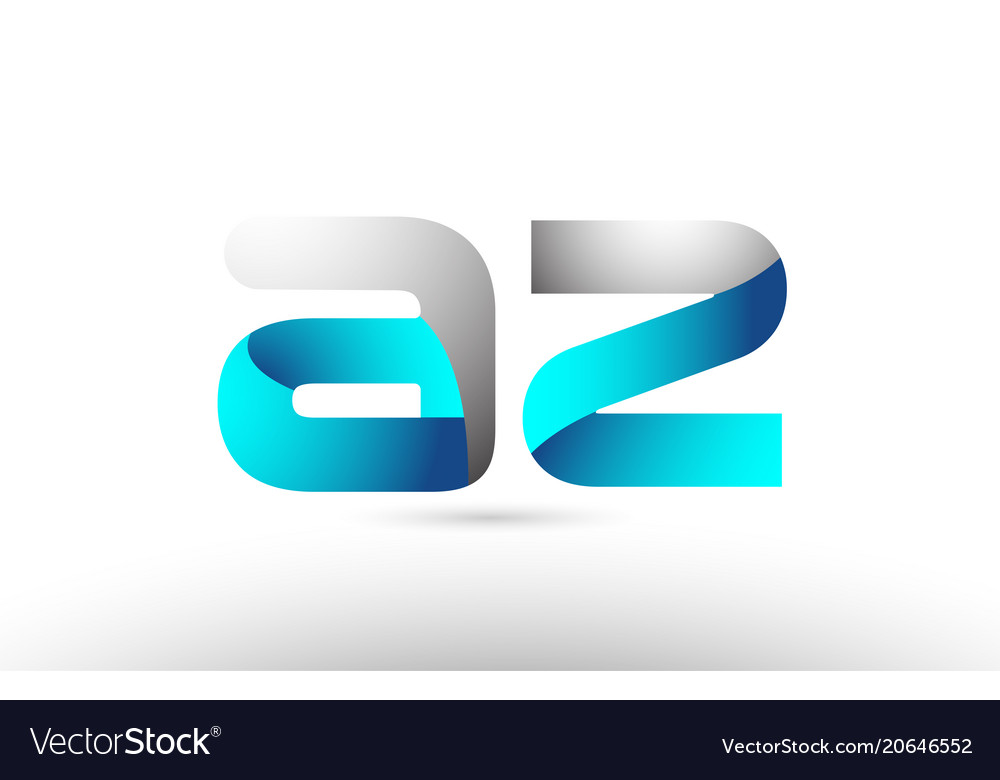 Grey blue alphabet letter az a z logo 3d design