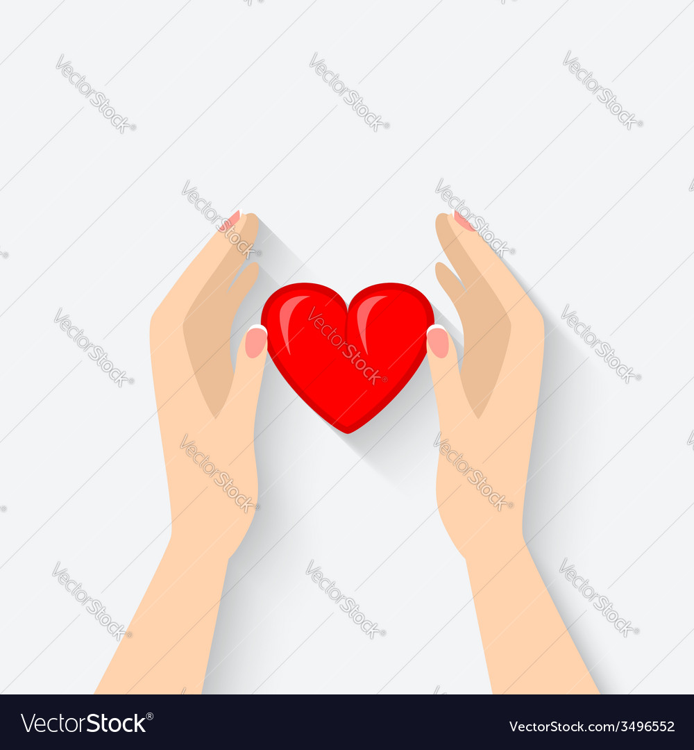 Heart in hands symbol vector image