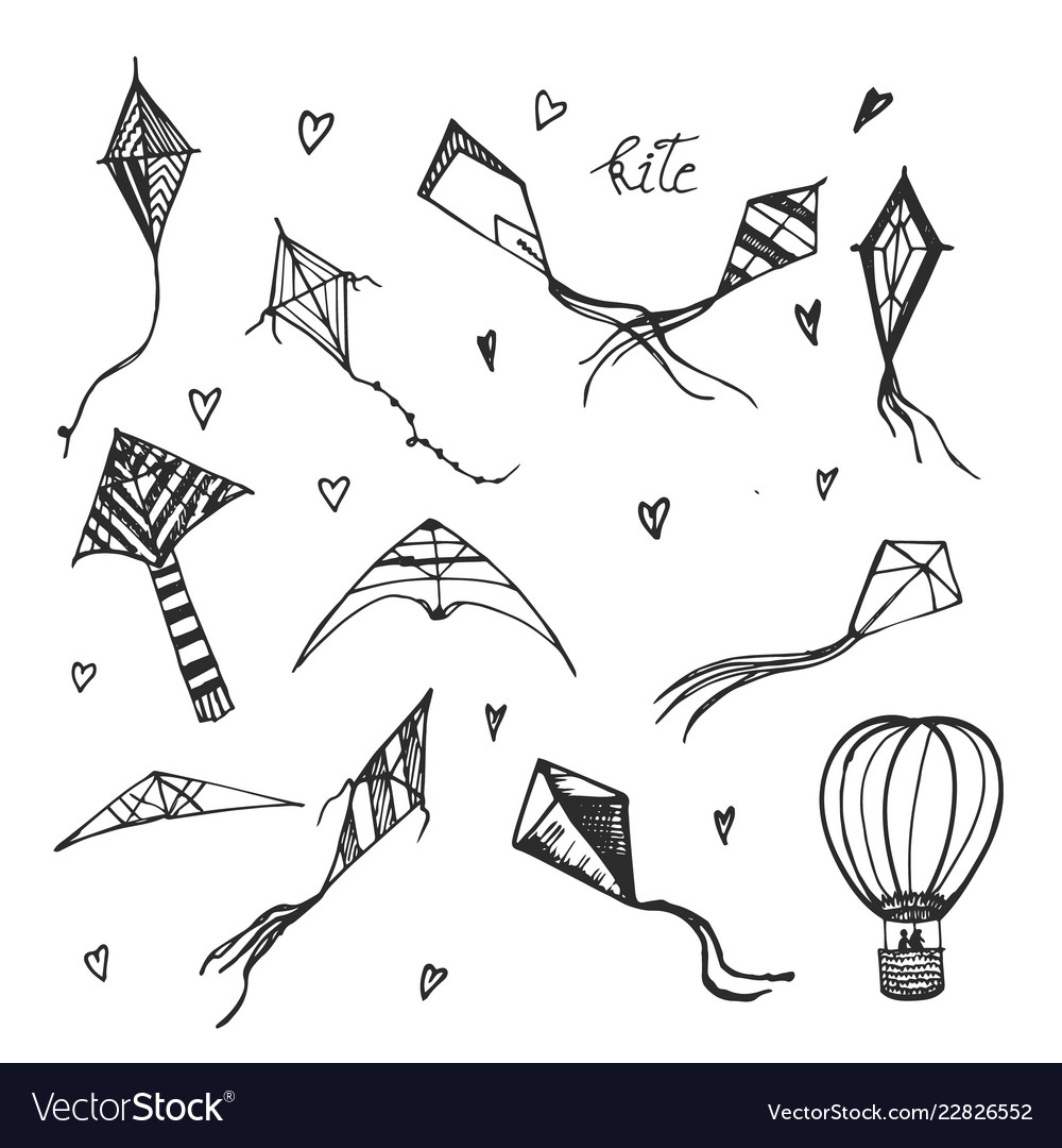 Kites and aerostat hand drawn sketch